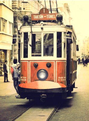 Sticker Alte Straßenbahn auf Istiklal Straße, Istanbul.