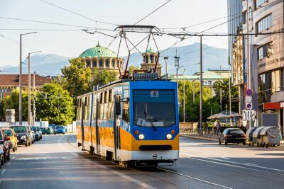 Sticker Alte Straßenbahn in Sofia, Bulgarien