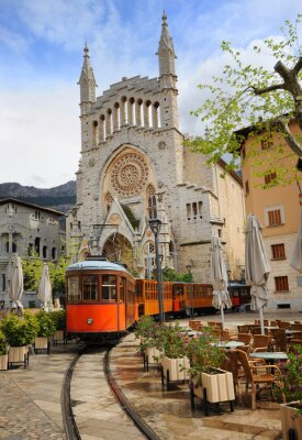 Sticker Alte Tram vor der Kathedrale von Soller, Mallorca, Spanien