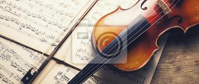 Sticker alte Violine und Noten, Bannergröße