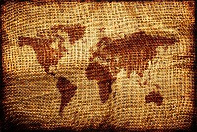 Sticker Alte Weltkarte auf hesian Sack Textur