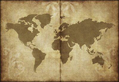 Sticker alte Weltkarte Pergamentpapier