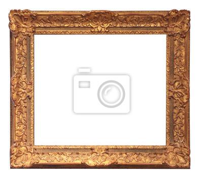 alten goldenen Rahmen mit leeren Grunge-Leinwand