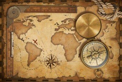 Sticker Alters Schatzkarte, Lineal, Seil und altes Messing-Kompass mit Deckel