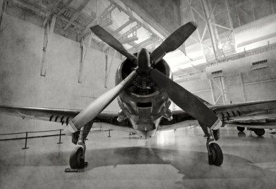 Sticker Altes Flugzeug in einem Hangar