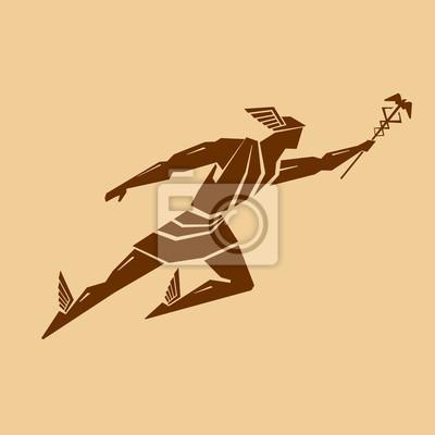 Altgriechischer Gott Hermes. Vektorzeichnung