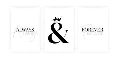 Always and forever, vector. Scandinavian minimalist art design. Three pieces poster design. Wording design, lettering. Romantic love quotes. Wall art, artwork