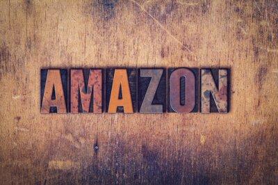 Sticker Amazon Konzept Hölzerne Buchdruck Typ