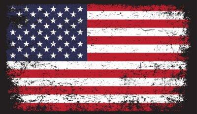 Sticker American flag in grunge style