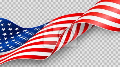 Sticker American flag on transparent background for 4t of July poster template.USA independence day celebration.USA 4th of July promotion advertising banner template for Brochures,Poster or Banner