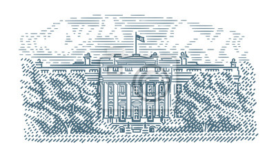 American White House engraving style illustration. Vector. Isolated.
