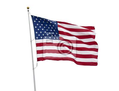 Sticker Amerikanische Flagge auf weiß mit Clipping-Pfad