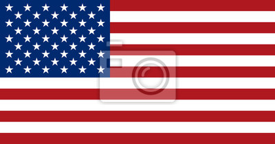 Sticker Amerikanische Flagge, flaches Layout, Vektor-Illustration