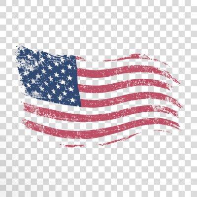 Sticker Amerikanische Flagge im Schmutzstil auf transparentem Hintergrund.