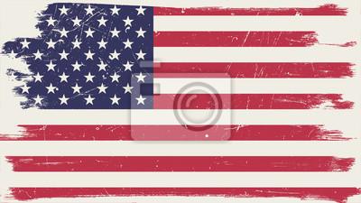 Sticker Amerikanische Flagge mit Grunge-Rahmen