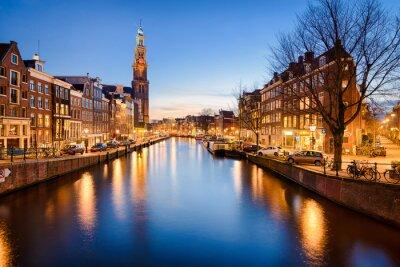 Sticker Amsterdam bei Nacht, Niederlande