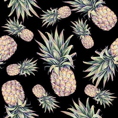 Sticker Ananas auf einem schwarzen Hintergrund. Bunte Abbildung des Aquarells. Tropische Frucht. Nahtlose Muster