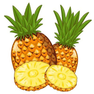 Sticker Ananas isoliert auf weißem Hintergrund.