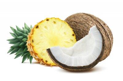 Sticker Ananas-Kokosnuss Stücke Zusammensetzung 1 isoliert auf weiß backgro