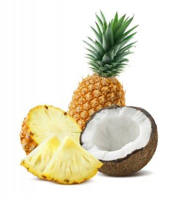 Sticker Ananas-Kokosnuss Stücke Zusammensetzung 4 isoliert auf weißem backgro