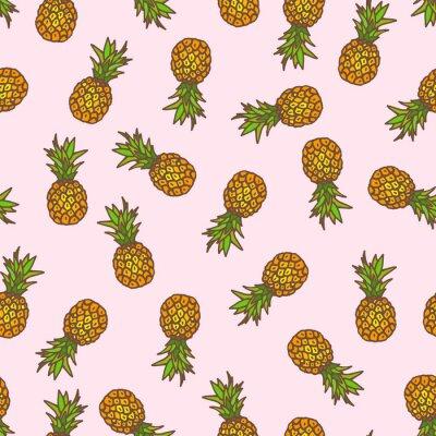 Sticker Ananas nahtlose Hintergrund.