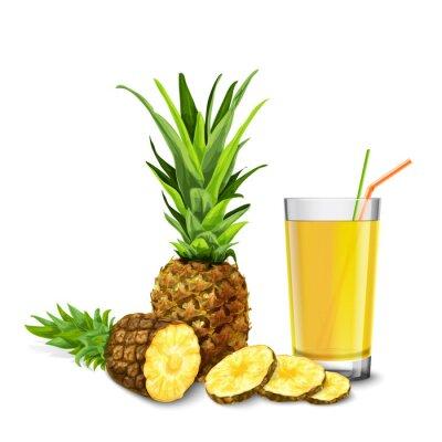 Sticker Ananas-Saft-Glas
