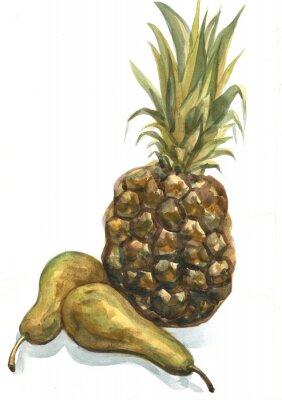 Sticker Ananas und Birne auf einem weißen Hintergrund. Aquarellmalerei