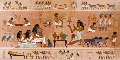 Sticker Ancient Egypt frescoes. Life of egyptians. Agriculture, workmanship, fishery, farm. Hieroglyphic carvings on  exterior walls of an ancient temple