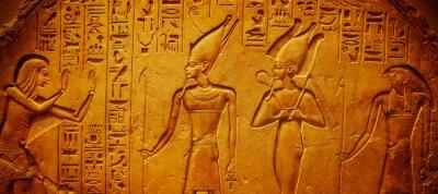 Sticker Ancient Egypt hieroglyphics with pharaoh and ankh