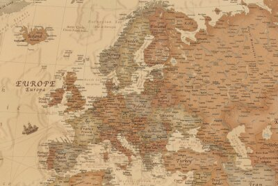 Sticker Ancient geographic map of Europe with names of the countries