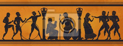 Sticker Ancient Greece mythology. Antic history black silhouettes of people and gods on pottery. Vector archeology pattern mythological culture on ceramics illustration