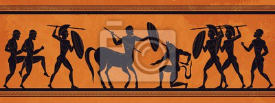 Sticker Ancient Greece scene. Historic mythology silhouettes with gods and centaurs, figures and pattern for ancient amphora. Vector mythological image art ancients amphoras ornaments
