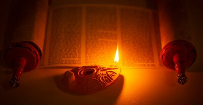 Sticker Ancient Lamp Illuminating the Hebrew Text of the Torah