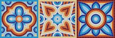 Sticker Ancient mosaic ceramic tile pattern.