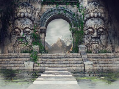 Sticker Ancient temple with stone heads, stairs, a pool and green ivy in the mountains. 3D render.