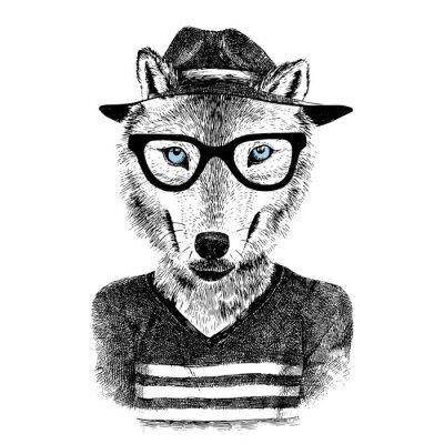 Sticker Angezogener Wolf