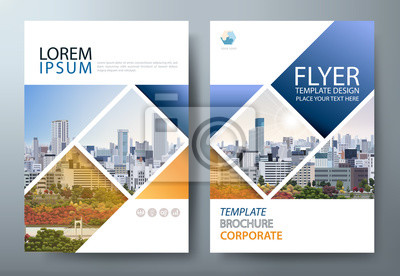 Sticker Annual report brochure flyer design template vector, Leaflet presentation, book cover, layout in A4 size.