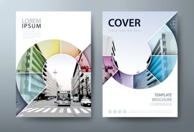 Sticker Annual report brochure flyer design template vector, Leaflet, presentation book cover templates, layout in A4 size