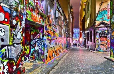 Sticker Ansicht der bunten Graffiti-Kunstwerk in Hosier Lane in Melbourne