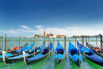 Sticker Ansicht der Gondeln auf der venetianischen Lagune, Venedig, Italien