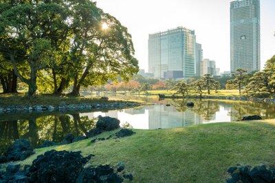 Sticker Ansicht des tokyo Stadtbildes mit Park