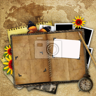 antike Hintergrund mit der alten Karte, offenes Buch und eine Uhr