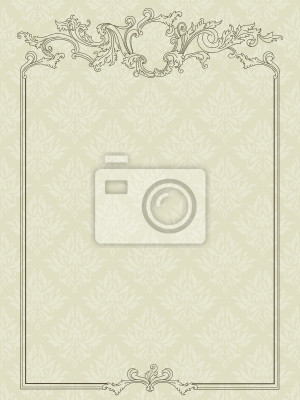Antique frame auf Damast nahtlose Hintergrund