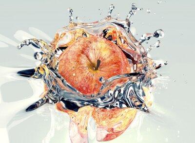 Sticker Apfel faling und Spritzwasser in Wasser