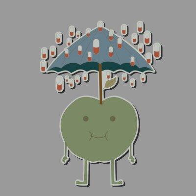 Sticker Apfel mit Regenschirm und Regen-Tabletten