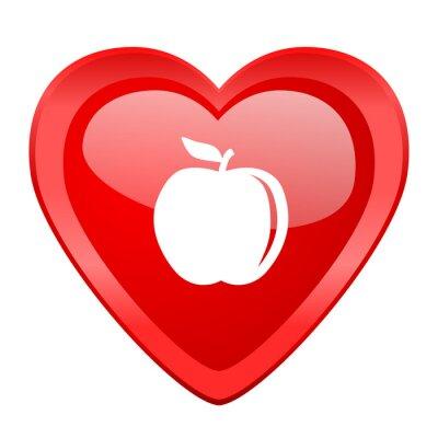 Sticker Apfel roten Herzen valentine glossy Web-Symbol