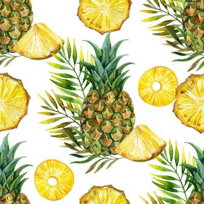 Sticker Aquarell Ananas nahtlose Muster