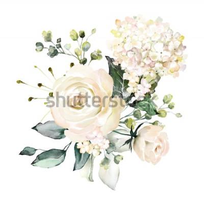 Sticker Aquarell Blumen. Blumenabbildung, Blatt und Knospen. Botanische Komposition für Hochzeit oder Grußkarte. Zweig der Blumen - Abstraktion Rosen, Hortensie