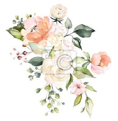 Aquarell Blumen. Blumenillustration, Blatt und Knospen. Botanische Zusammensetzung für Hochzeit oder Grußkarte. Abstraktion Rosen