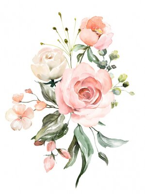 Aquarell Blumen. Blumenillustration, Blatt und Knospen. Botanische Zusammensetzung für Hochzeit oder Grußkarte. Zweig der Blumen - Abstraktion rosa Rosen